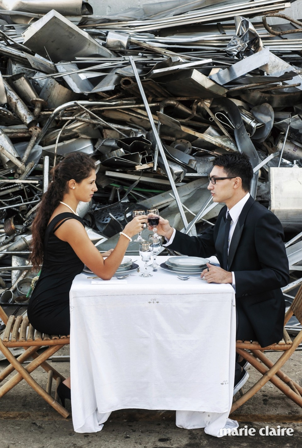 Couple Toasting in Landfill