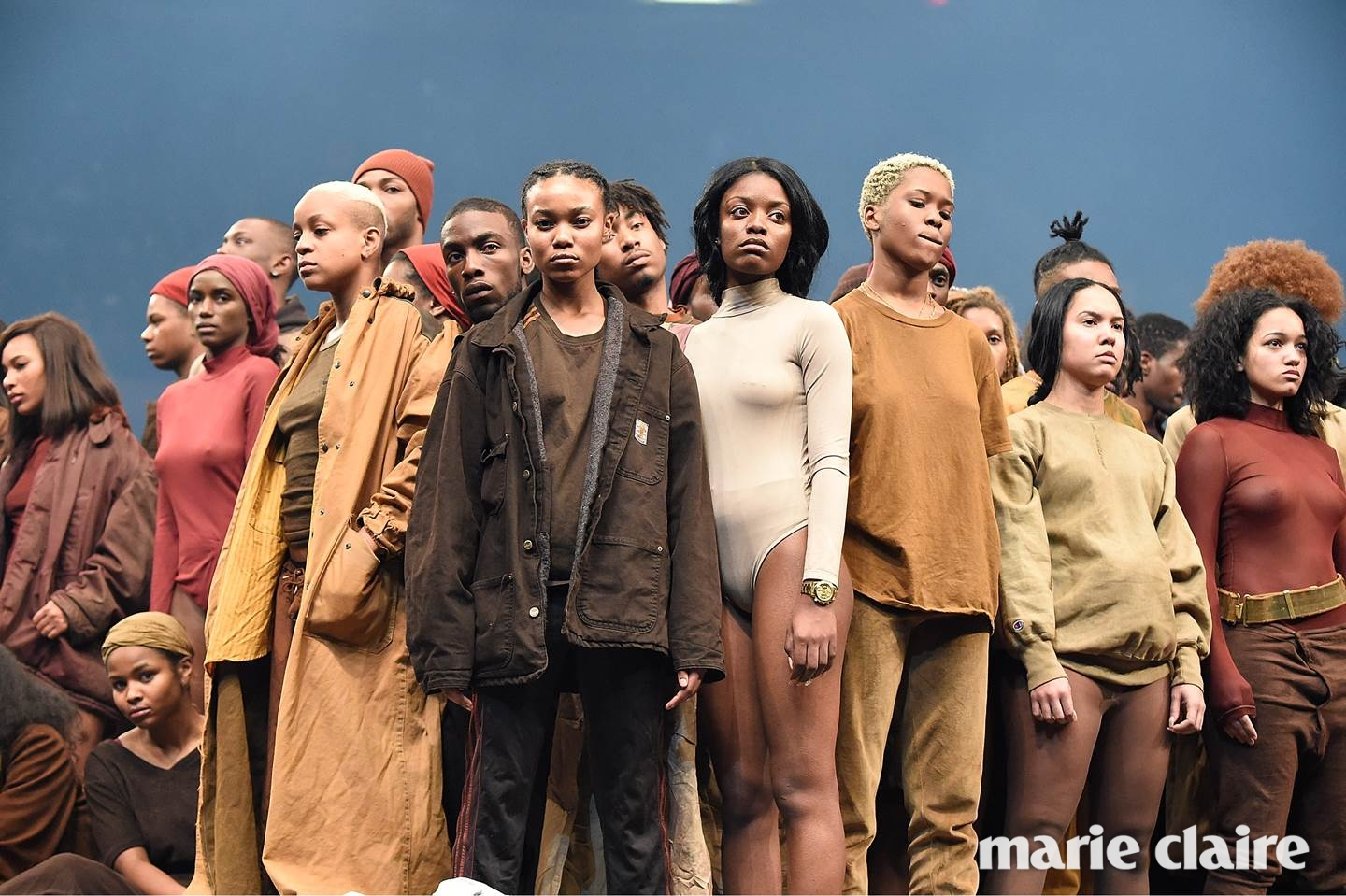 NEW YORK, NY - FEBRUARY 11: (EDITORS NOTE: Image contains nudity.) Models pose during Kanye West Yeezy Season 3 at Madison Square Garden on February 11, 2016 in New York City. (Photo by Kevin Mazur/Getty Images for Yeezy Season 3)