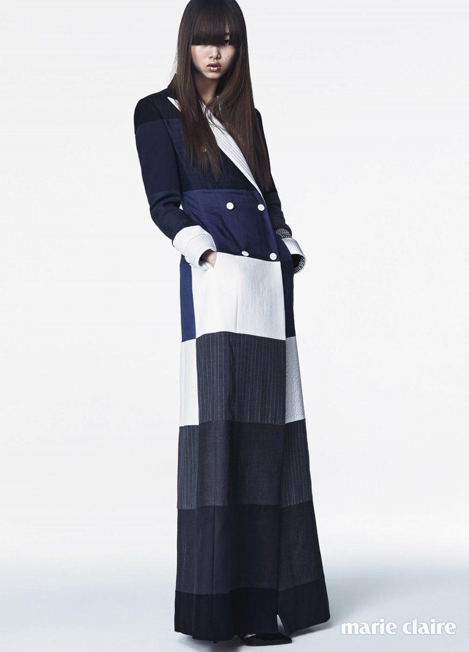 JAYBAEK 자연 섬유와 퀼팅 원단을 패치워크해 테일러드 드레스를 제작했다. Eco-Calling, 친환경 패션 - 마리끌레르 2016년