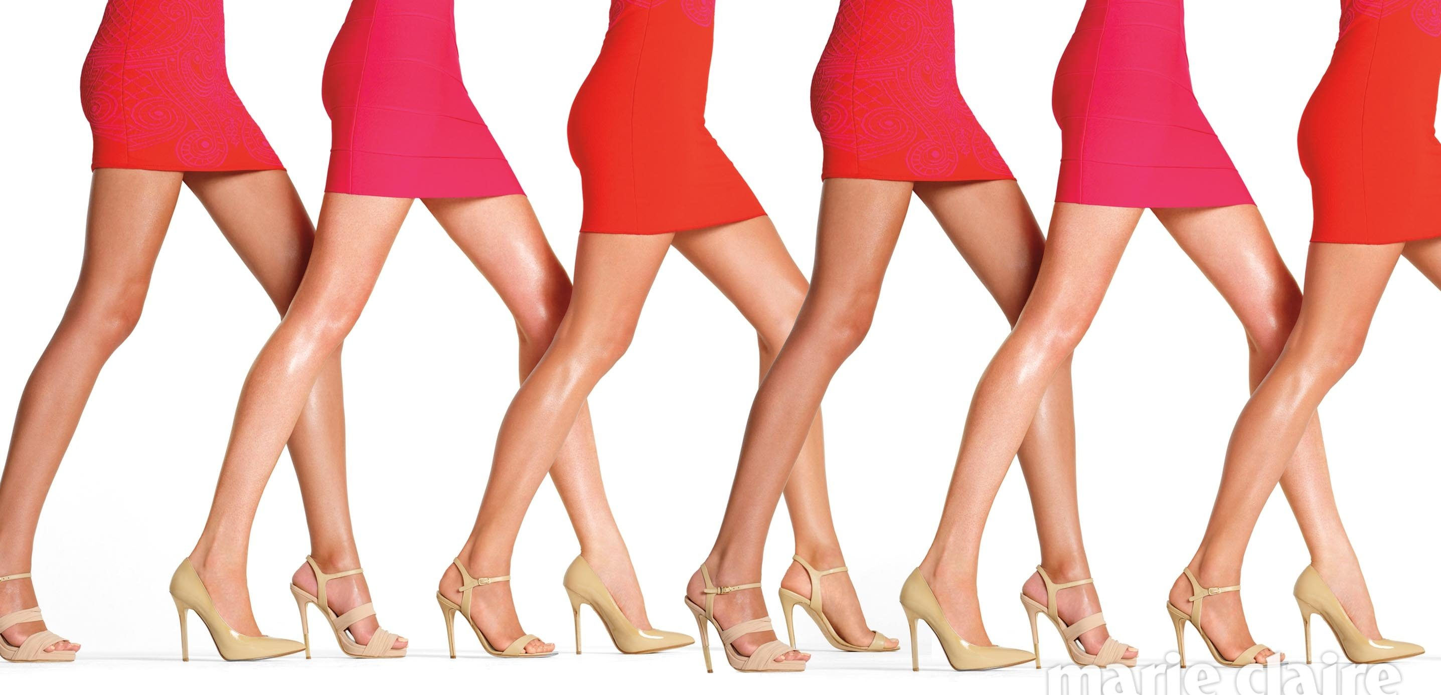 Profile of women's legs in short skirts