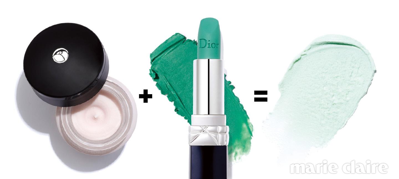 로레알파리 베이스 매직 프라이머. 15ml, 1만8천원. 피부 표면에 얇은 막을 형성해 밀착력을 높여주는 프라이머. 디올 루즈 디올. #400 클로버매트. 3.5g, 4만1천원. 촉촉하고 부드럽게 발리는 민트 컬러 립스틱.