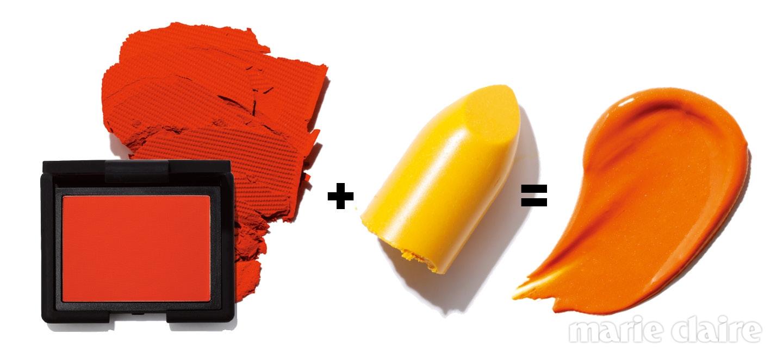 나스 블러쉬. #익지빗 에이, 4.8g, 4만원. 웜 톤 피부에 바르면 얼굴에 생기가 도는 오렌지 블러셔. 맥 팝 립스틱. #골드 시시, 3g, 3만원대. 촉촉한 제형의 파스텔 레몬 컬러 립스틱.
