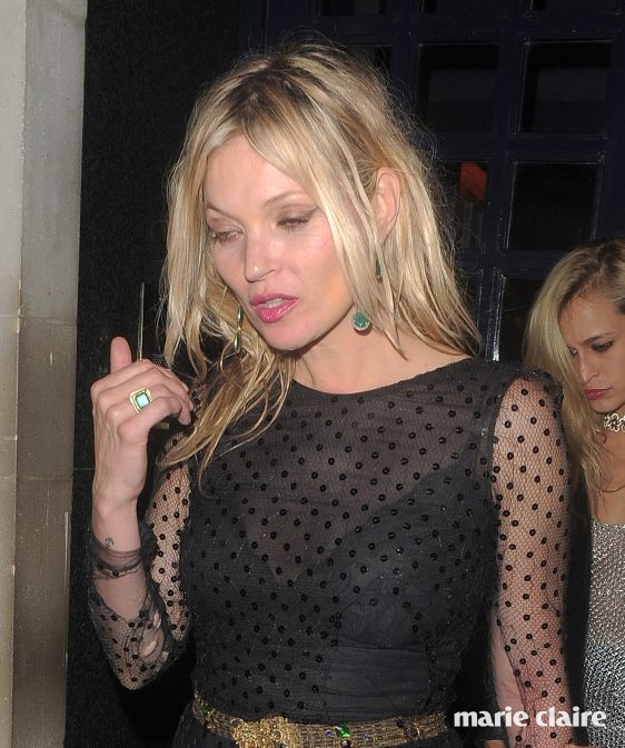 Celebrities attend the Vogue 100th Anniversary Gala After Party held at Tramp in Mayfair. Kate Moss leaves looking a little worse for wear, with rips visible in her sheer black dress. Featuring: Kate Moss, Alice Dellal Where: London, United Kingdom When: 23 May 2016 Credit: Will Alexander/Ricardo Vigil/WENN.com