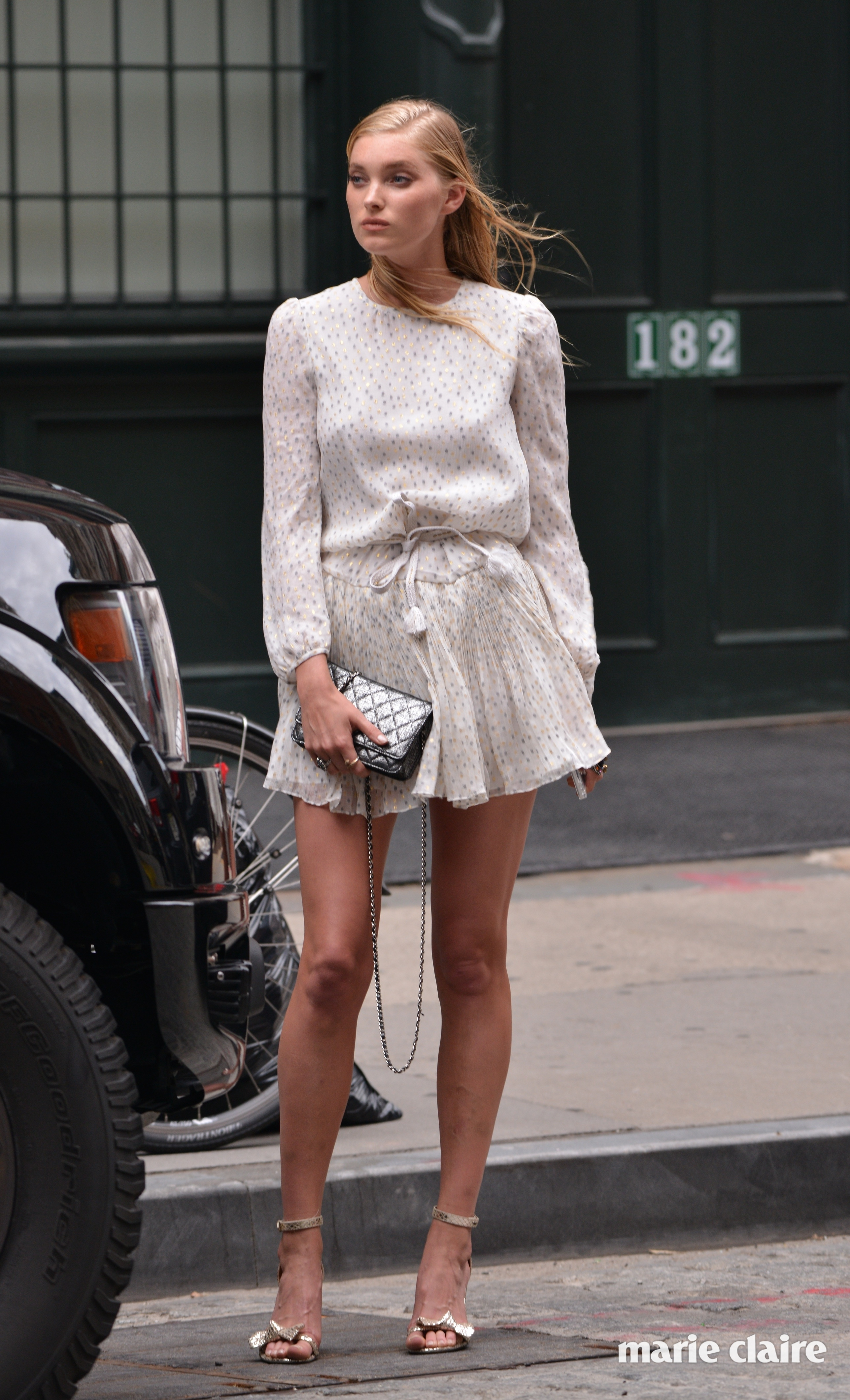Elsa Hosk wearing a short dress in Tribeca