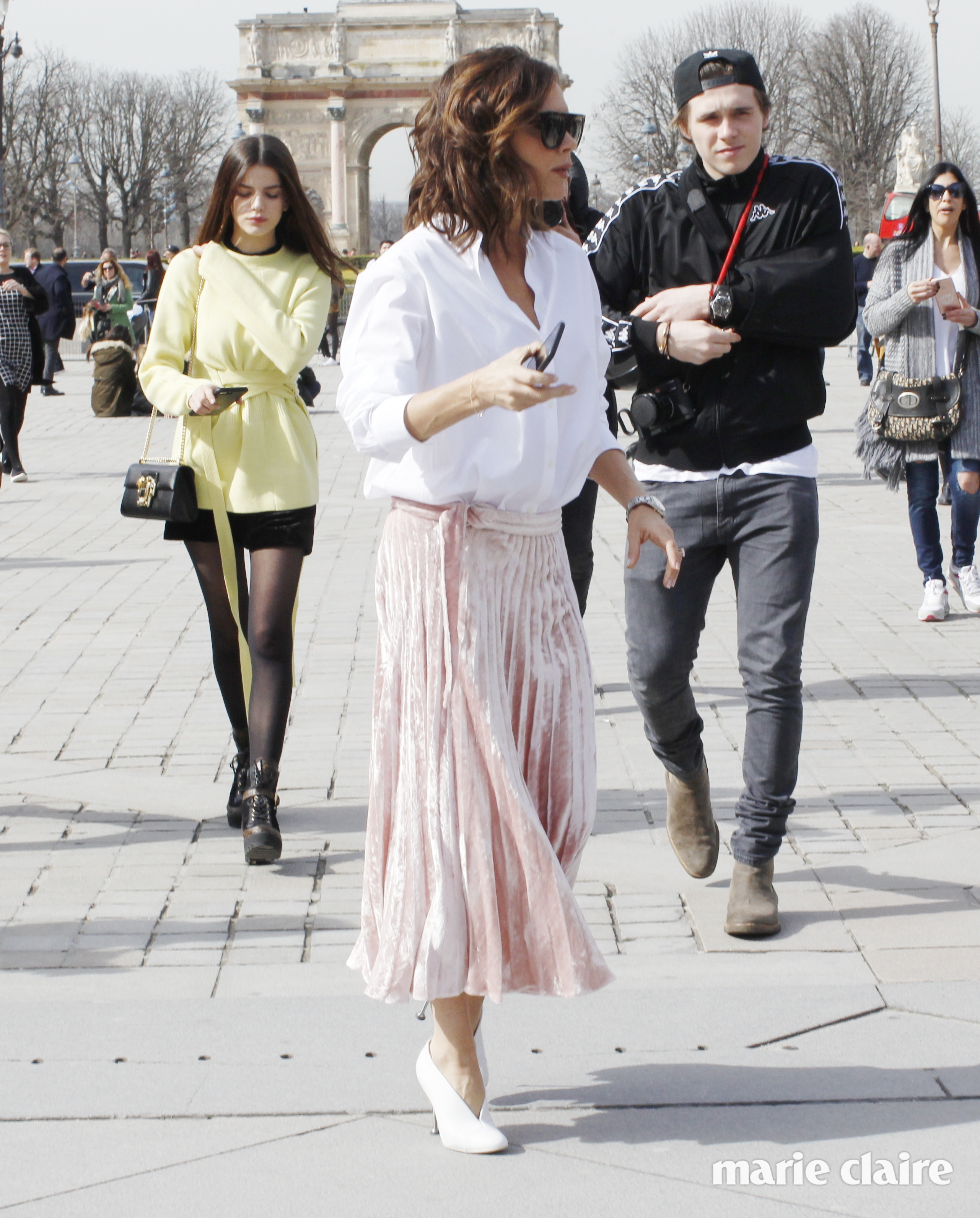 Victoria Beckham out and about with son Brooklyn Beckham and his ex-girlfriend Sonia Ben Ammar in Paris
