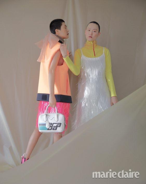 패션 화보 가을패션 가을화보 패션화보 프라다 베스트 드레스 시퀸 프린지 드레스