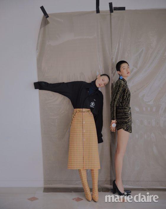 패션 화보 가을 패션화보 발렌시아가 체크무늬 브레이슬릿 미니드레스