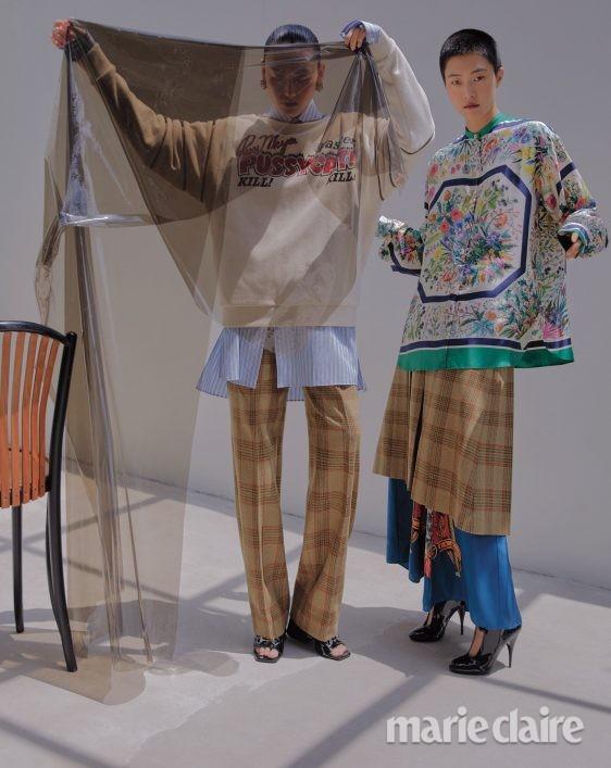 패션 가을 구찌 미우미우 가을컬렉션 패션화보 실크 플로럴프린트 앵클부츠
