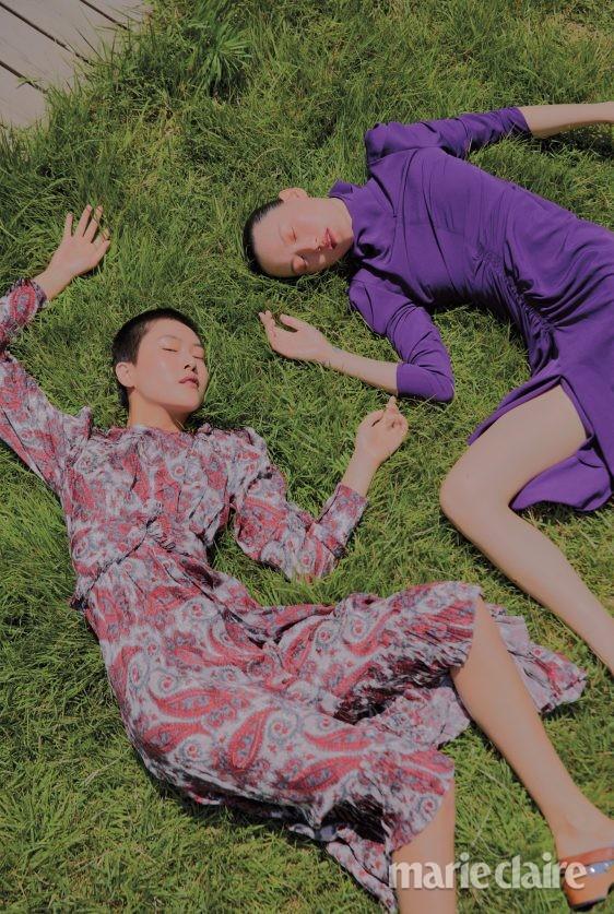 이자벨마랑 디올 슬링백샌들 페이즐리패턴 드레스 드레이핑드레스 패션 패션화보 가을 가을컬렉션
