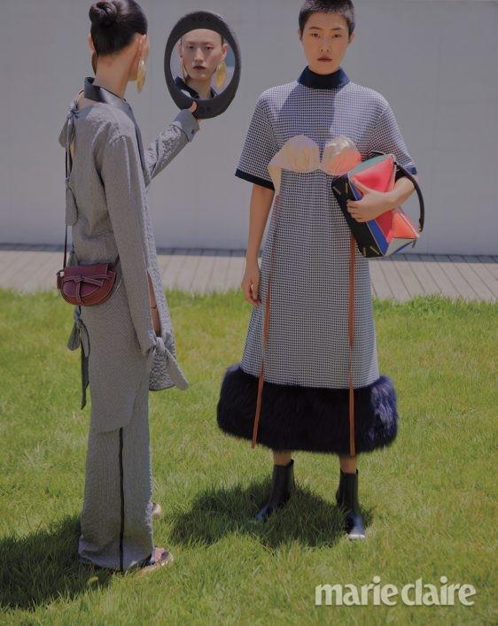 로에베 패션 화보 가을 앵클부츠 퍼즐백 드레스 게이트백