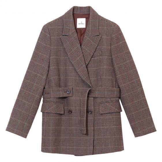 아바몰리 체크 재킷 벨트