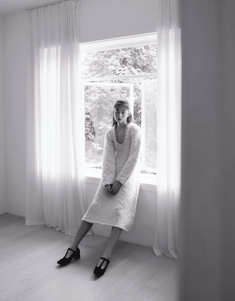 니트 드레스 보테가 베네타 메리제인 펌프스 잉크