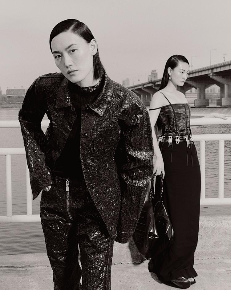 지방시 Givenchy 데님 자켓 뷔스티에 드레스 플랫폼 슬라이더