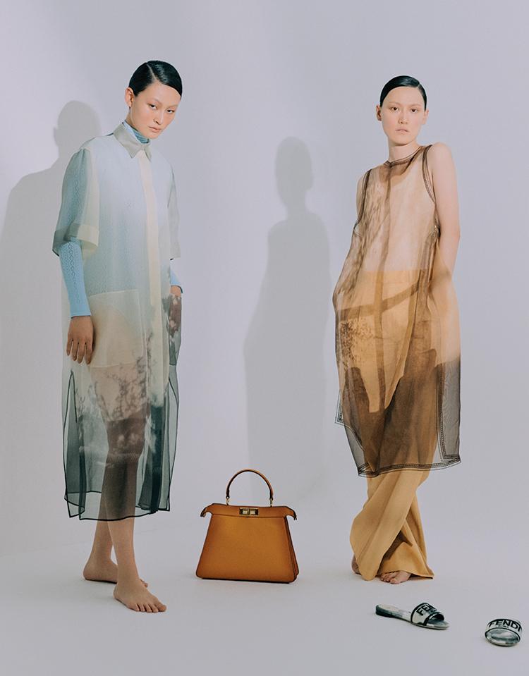 펜디 Fendi IseeU 피카부 백 오간자 셔츠 드레스 슬리브리스 드레스